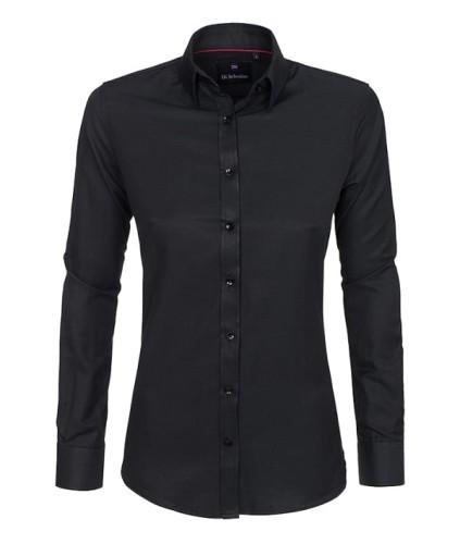 64220f940f Koszula damska czarna gładka slim fit - Koszule damskie - aDi ...
