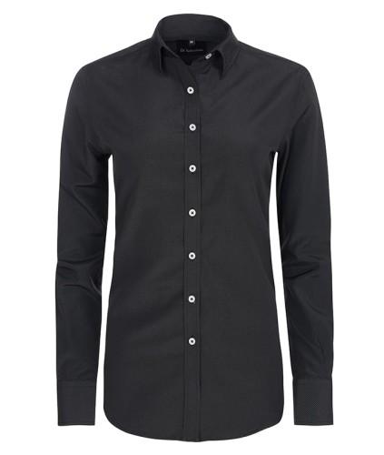 9fd03ff4d211d7 Koszula damska czarna białe kropki elegancka do pracy slim fit ...