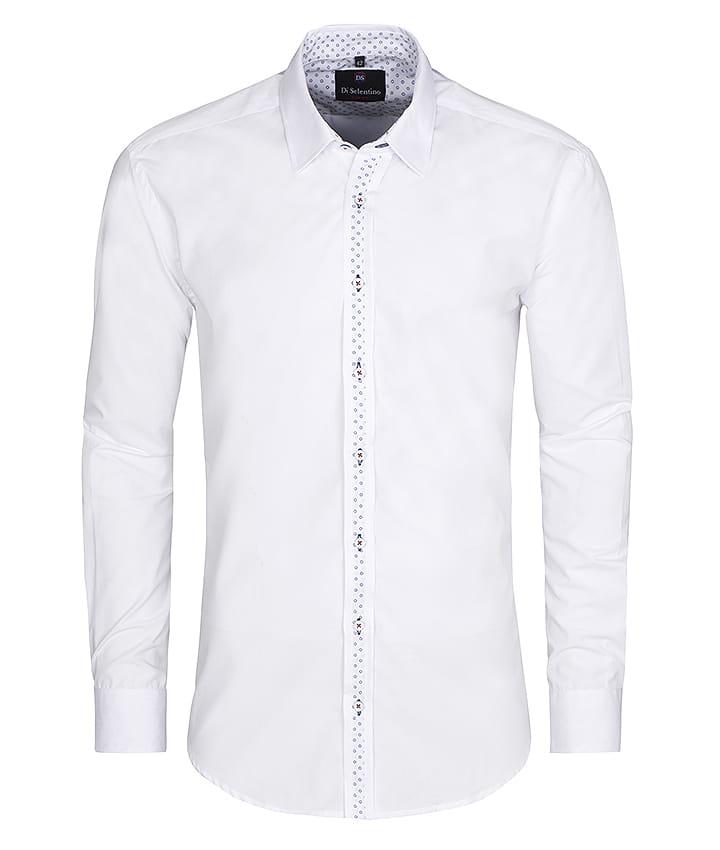 Biała koszula męska z wzorem krój klasyczny Di Selentino
