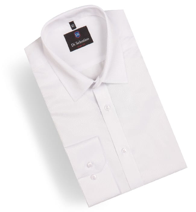 Biała koszula męska z wzorem krój klasyczny Di Selentino  0UcVG