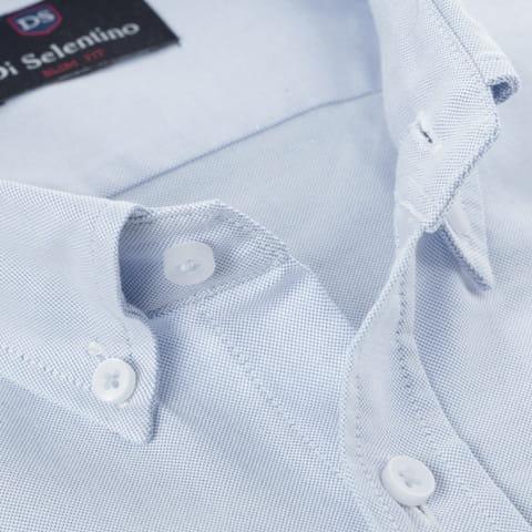 Koszula męska błękitna Oxford 100% bawełna taliowana slim